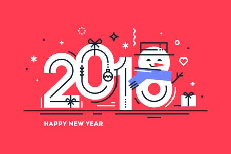 Happy 2018 New Year flat greeting card Vector Ilustracja