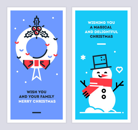 Christmas and New Year linear cards set with snowman and wreath. Set of xmas thin line design templates for print or web. Vector illustration. 矢量图像