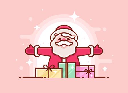 Christmas greeting card with santa claus vector illustration