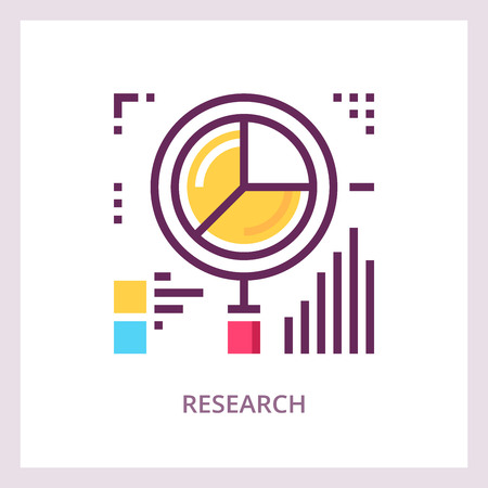 Research icon. Financial data analysis concept.
