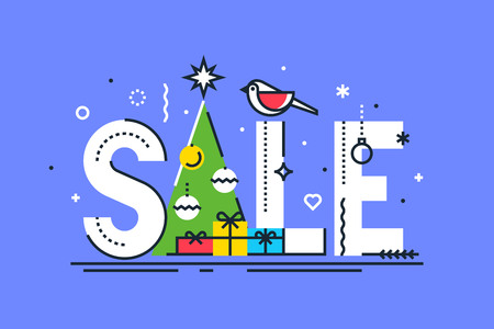 Christmas sale design template. Vector.