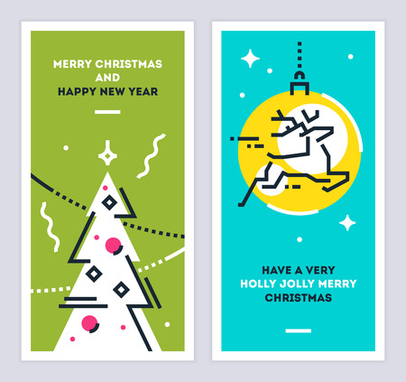 Christmas and new year linear cards set vector illustration 矢量图像