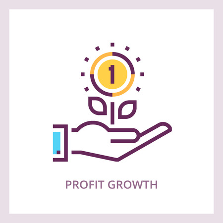 Profit growth vector icon investments and savings 免版税图像 - 90056848