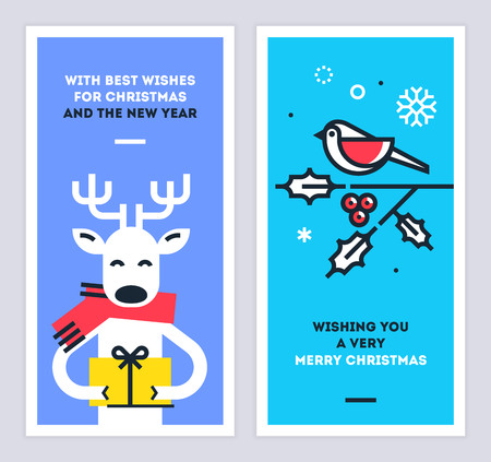 Christmas and New Year linear cards set with cute reindeer character giving a gift and bird sitting on a omela branch. Set of xmas thin line design templates for print or web. Vector illustration.