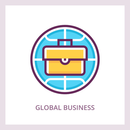 Global business icon international finance and investments concept vector linear pictogram