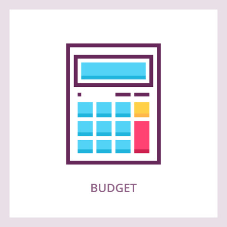 Budget icon. Calculating and planning concept. Vector linear pictogram Иллюстрация