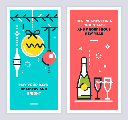 Christmas and new year linear cards set with christmas tree branches, balls, champagne bottle, and wine glasses. Illustration