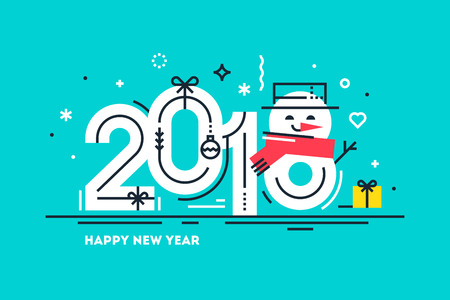 Happy 2018 new year flat thin line horizontal greeting card or banner with cute snowman Illustration