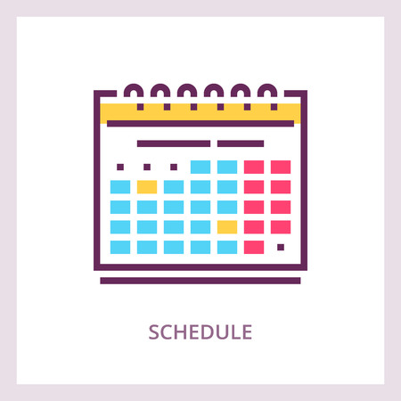 Schedule icon. Planning and timemanagment concept. Vector linear pictogram Иллюстрация