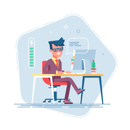 Handsome young businessman character full of energy. Full of energy to work. Vector flat cartoon illustration Иллюстрация