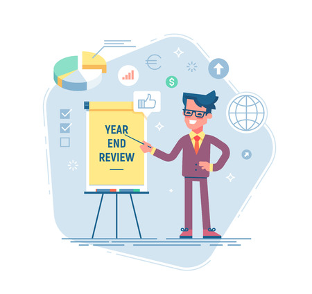 Confident young man is standing near flip chart and pointing graph and diagram. Year end review business concept. Vector illustration. Flat design 免版税图像 - 90692668