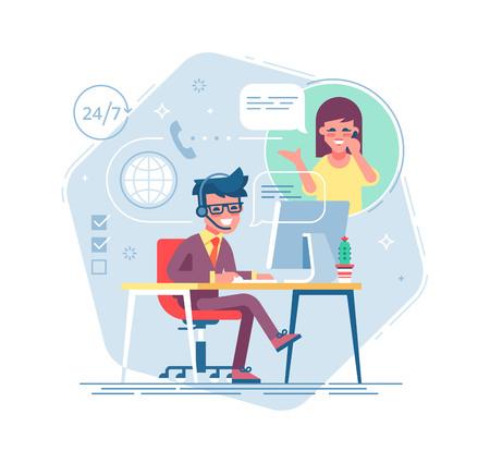 Glücklicher männlicher Hilfslinienbetreiber mit Kopfhörer einen Kunden konsultierend. Globaler Online-Tech-Support 24 7. Betreiber und Kunde. Technisches Support-Konzept. Vektorillustration im flachen Design.