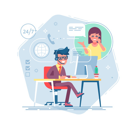 Operador de línea masculina feliz con auriculares consultando a un cliente. Soporte técnico global en línea 24 7. Operador y cliente. Concepto de soporte técnico Ilustración de vector en diseño plano.