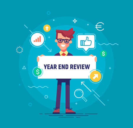 Handsome businessman holding board with title Year End Review. Project report, year end summary concept. Vector illustration in flat style. 免版税图像 - 90692825
