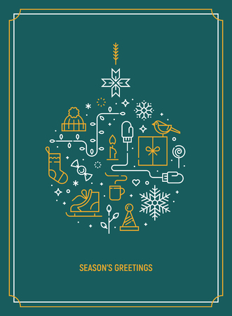 Christmas template for greeting card. Vector illustration. Иллюстрация