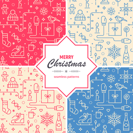 Set of Christmas and New Year seamless patterns.