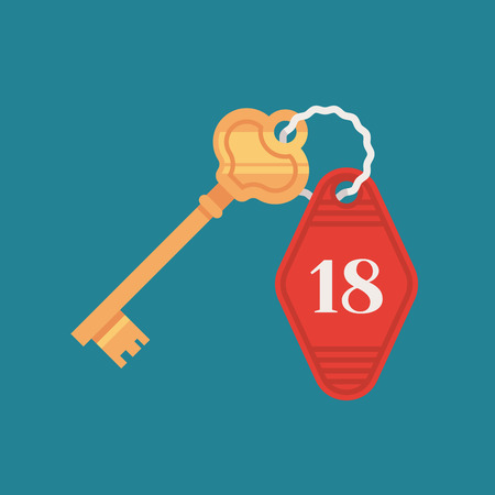 Door lock key with room number badge in cartoon illustration.