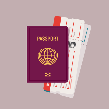 Passport and boarding pass tickets illustration in flat design. 矢量图像