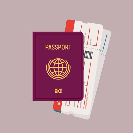 Passport and boarding pass tickets illustration in flat design. Illustration