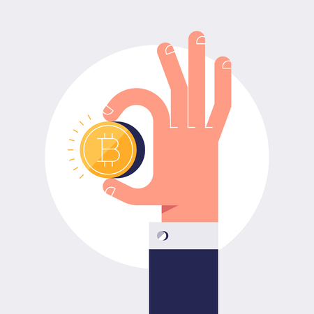 Male hand is holding golden bitcoin coin. Vector