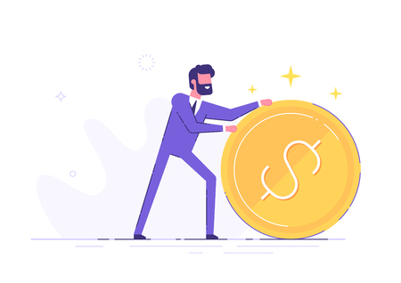 Businessman is rolling a huge golden dollar coin.