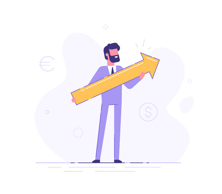 Business man holding arrow pointing right up