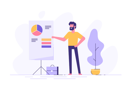 Man standing near flip chart and pointing graph Illustration