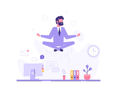 Businessman doing yoga in office over desk. Vector 免版税图像 - 102826143