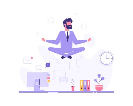Businessman doing yoga in office over desk. Vector