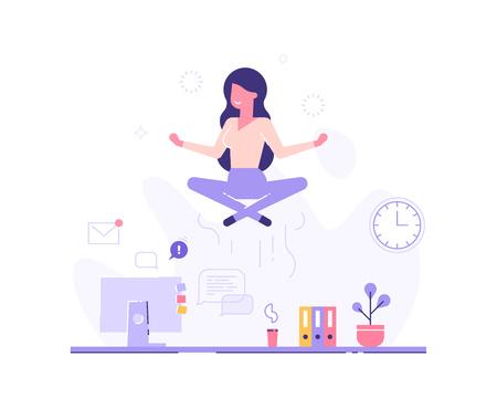 Businesswoman doing yoga. Vector illustration.