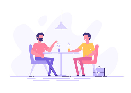 Two male colleagues chatting during coffee break. Illustration