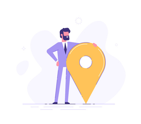 Man is standing close to big map pointer. Illustration