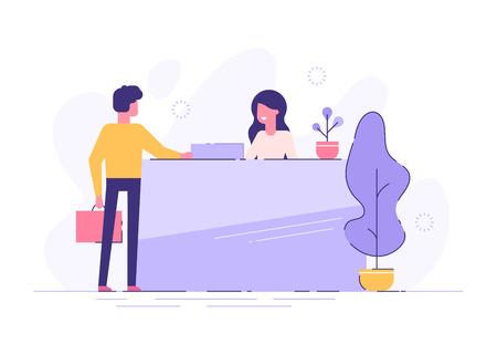 Customer at reception. Modern vector illustration
