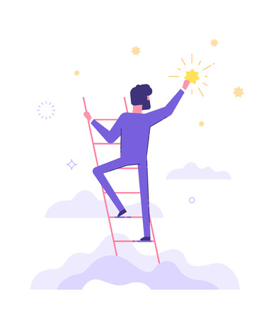 Man is standing on stairs and reaching star. Illustration