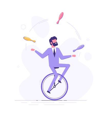 L'homme monte sur un monocycle et jongle avec des tâches.