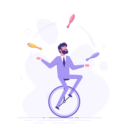 Man is riding on unicycle and juggling tasks. 矢量图像