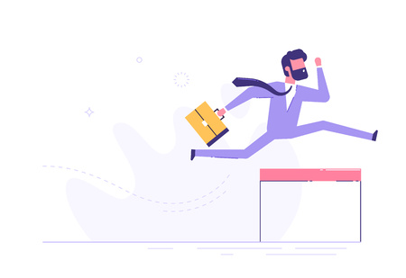 Confident businessman jumping over hurdle. Vector. 矢量图像