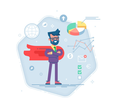 Man in a business suit and red cape superhero Illustration