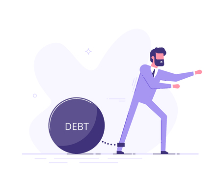 Man trying to go with a huge weight of debt. Illustration