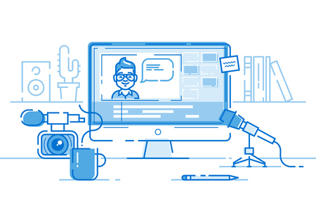 Workplace of blogger or video editor. Vector.