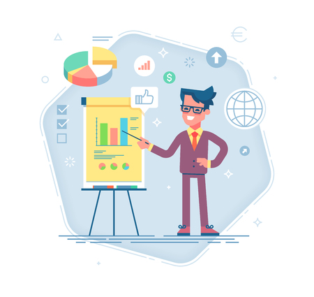 Confident young man standing near flip chart and pointing graph and diagram. Creative business concept. Vector illustration. Flat design 免版税图像