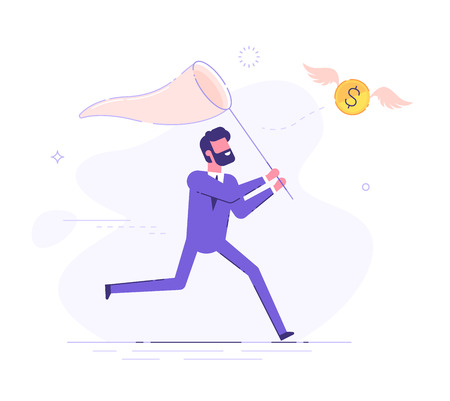 Businessman is trying to catch flying dollar coin with a scoop-net. Modern business character. Vector illustration