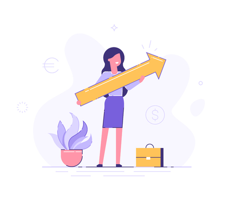 Business woman holding arrow pointing right up indicating success. Flat vector illustration