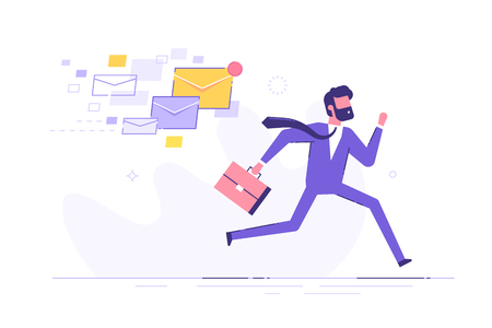 A frightened businessman is running away from a plenty emails chasing him. Modern character design. Vector illustration