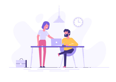 Young man is sitting at a desk with computer and his colleague is pointing to a screen and giving advice. Office business concept. Modern vector illustration. 免版税图像 - 102826207