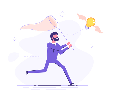 Businessman is trying to catch flying light bulb with a scoop-net. Search for ideas. Flat vector illustration 免版税图像 - 102823967