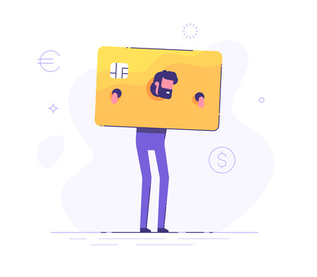 The upset businessman is standing and shackled in fetters in the form of a credit card. Concept of squander and credit slavery. Vector illustration.