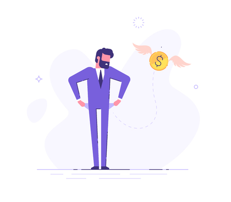 Frustrated businessman is turning out his empty pockets. Financial troubles. Flat modern illustration