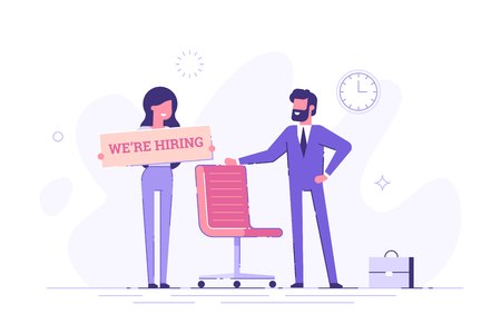 Businessman and woman are hiring new staff. Head hunters. Vacant place in an office. Flat vector illustration