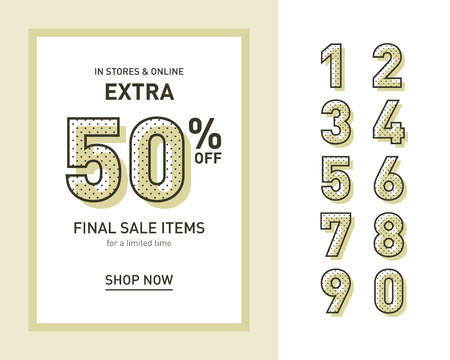 Vintage sales template for banner, flyer or leaflet with set of numerals. Neo memphis style. Vector Illustration